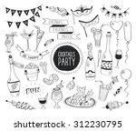 cocktails party doodle set.... | Shutterstock .eps vector #312230795