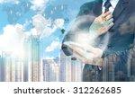 double exposure of businessman... | Shutterstock . vector #312262685