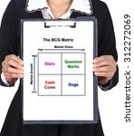 Small photo of business woman holding a clipboard with The BCG Matrix chart (Marketing concept)