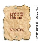 Western style - Help Wanted - notice on grunge paper - isolated on white - stock photo