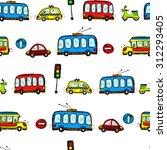 funny cars. kids seamless... | Shutterstock . vector #312293405