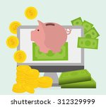 piggy design as saving money... | Shutterstock .eps vector #312329999