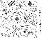 spices  vector food set  ink... | Shutterstock .eps vector #312344747