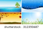 four view of different seasons... | Shutterstock .eps vector #312350687