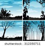 silhouette scene of nature...   Shutterstock .eps vector #312350711