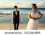 elegant gorgeous bride and... | Shutterstock . vector #312361889