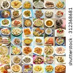 collage of cooked dishes... | Shutterstock . vector #312368681