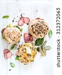 sandwich with homemade buns and ... | Shutterstock . vector #312372065