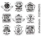 racing badges in retro style... | Shutterstock .eps vector #312386201