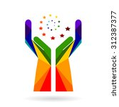 logo success. two hands with an ... | Shutterstock .eps vector #312387377