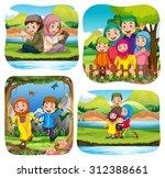 muslim doing activities in the... | Shutterstock .eps vector #312388661