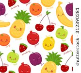 seamless pattern of fruits ... | Shutterstock . vector #312390281