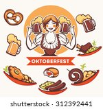 vector  german girl and... | Shutterstock .eps vector #312392441