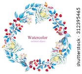 watercolor floral wreath with... | Shutterstock . vector #312395465