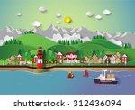 urban countryside landscape... | Shutterstock .eps vector #312436094