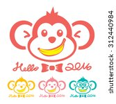 Monkey New Year Icon Symbol....