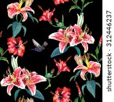 tropical pink lilies and red... | Shutterstock . vector #312446237
