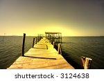 water hut at sunset   Shutterstock . vector #3124638