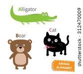 Letter A B C Alligator Cat Bea...