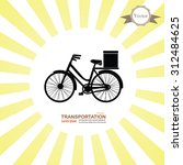 bicycle icon on sunburst... | Shutterstock .eps vector #312484625