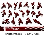 Cross motorcycles isolated silhouettes. Vector illustration. - stock vector