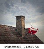 santa claus climbing a roof | Shutterstock . vector #312519731