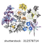 floral pattern on white... | Shutterstock . vector #312578714