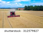 Aerial view on the combines and ...
