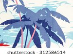 tropical palm tree pattern on... | Shutterstock . vector #312586514