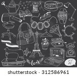 hand drawn accessories doodles... | Shutterstock .eps vector #312586961