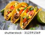 mexican food   delicious tacos... | Shutterstock . vector #312591569