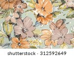 Stock photo floral pattern on fabric brown and orange flowers print as background 312592649