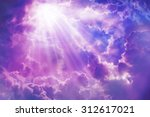 purple sky with sun and... | Shutterstock . vector #312617021