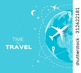 travel world map background in... | Shutterstock .eps vector #312622181