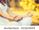 yoga outdoors in warm autumn... | Shutterstock . vector #312623045