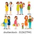 pregnant women and family | Shutterstock .eps vector #312627941