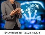 business woman sending ema byi... | Shutterstock . vector #312675275