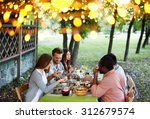 group of young friends having... | Shutterstock . vector #312679574
