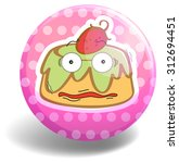 custard cake on pink badge... | Shutterstock .eps vector #312694451