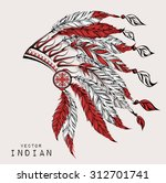 native american indian chief.... | Shutterstock .eps vector #312701741