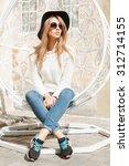 beautiful fashionable girl...   Shutterstock . vector #312714155