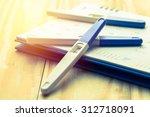 pregnancy test on calendar... | Shutterstock . vector #312718091