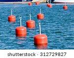 Lots Of Empty Red Mooring Buoy...