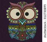 boho ornamental owl... | Shutterstock .eps vector #312730895