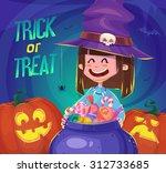 little cute witch. halloween... | Shutterstock .eps vector #312733685