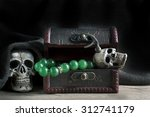 Treasure Chest Old With Jewelr...