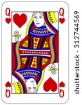 poker playing card queen heart | Shutterstock .eps vector #312744569