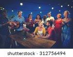 friends celebration beach... | Shutterstock . vector #312756494