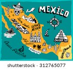 illustrated map of mexico  with ... | Shutterstock .eps vector #312765077