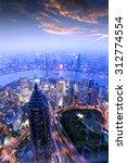 shanghai pudong skyline at night | Shutterstock . vector #312774554